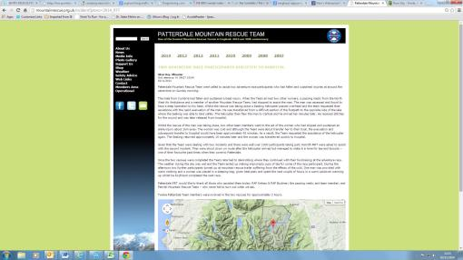 screenshot from the Mountain rescue website